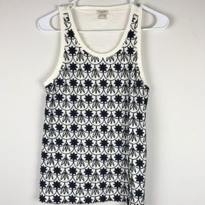 J.CREW EMBELLISHED TANK TOP IVORY WITH NAVY FLORAL